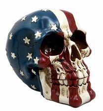 Ebros Patriotic Us American Flag Star Spangled Banner Skull Decorative Figurine