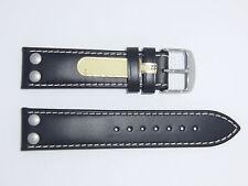 "DI-Modell Germany Genuine Calfskin Leather 22 mm BLACK Watch Band Rivet ""Ikarus"""