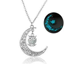 GLOW IN THE DARK Owl Charm Moon Pendant Fairy Necklace / Jewellery Gift Idea