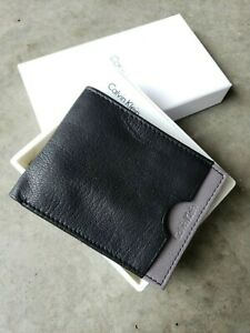 Calvin Klein Men's Bi-fold Leather Wallet, Gray & Navy blue