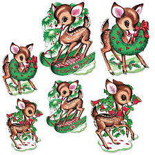 6 Vintage Christmas Reindeer Cutouts 1960 Beistle Reproduction Party Decoration