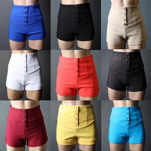 Womens Office Career Work Button High Waist Cuffed Shorts Hot Dress Pants S M L
