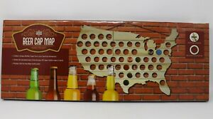 Wood Beer Cap Map - New