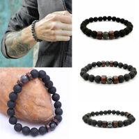 Mens Women Lava Rock Diffuser Bracelet Elastic Natural Stone Yoga Beads Bracelet