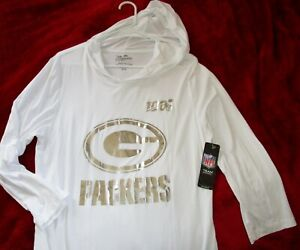 NEW Green Bay Packers Hooded Shirt Ladies 2XL White Silver NFL Majestic Threads
