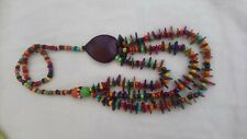 Bohemian Wooden Bead Necklace statement surfer multicoloured