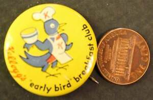 1950-60s Era Kelloggs cereal Early Bird Breakfast Club pin-VINTAGE premium item!