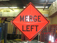 """Merge Left Sign Fluorescent Vinyl With Ribs 48""""x48"""" Roll Up Sign"""