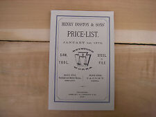NEW OLD STOCK Tool hand saws Catalogue reprint Disston & Keystone Saw works 1876