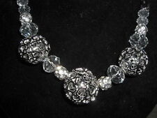 Massives Kugel Collier Silber Strass Glasperlen