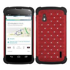 LG Nexus 4 Google Phone E960 Hybrid Spot Diamond Case Skin Cover Red Black