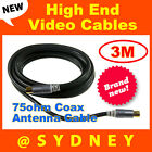 3m ISIX 75ohm Coax Antenna Cable with Adapter - Flylead Pal TV Aerial Cable