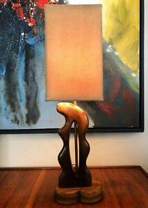 MODERNIST BIOMORPHIC FREE FORM SCULPTURAL WOOD TABLE LAMP HEIFETZ NOGUCHI ERA