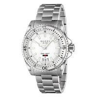 New Gucci Dive XL Sport White Dial Stainless Steel Bracelet Men's Watch YA136302
