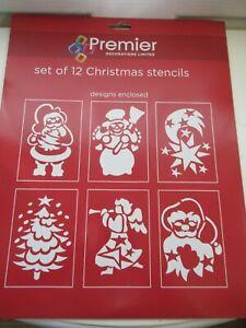 Set of 12 Christmas stencils, Santa, snowman, angel, Christmas tree, star,