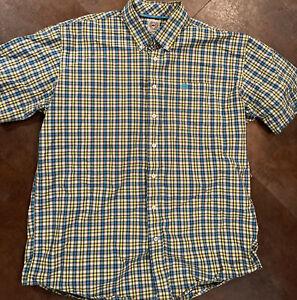 Men's CINCH Plaid Blue Green & Gray Button Front Shirt Size XL
