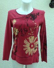 Haut Manches Longues Rouge Fleurs Jaune Et Noir Bagoraz Taille 3