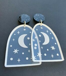 Night Window Acrylic Earrings - Engraved Clear Acrylic with Moon and Stars