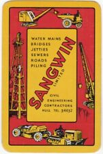 Playing Cards 1 Swap Card - Old Vintage SANGWIN AD Crane BULLDOZER Excavator