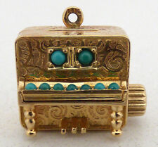 Vintage 14k Yellow Gold & Turquoise Cabochon Mechanical Self Playing Piano Pe...