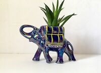Vintage Elephant Small Plant Pot Holder, Souvenir Pottery Planter Ornament