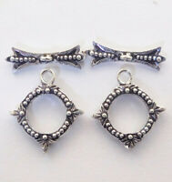 10 SET 19X17MM BALI TOGGLE CLASP ANTIQUE STERLING SILVER PLATED 948HH