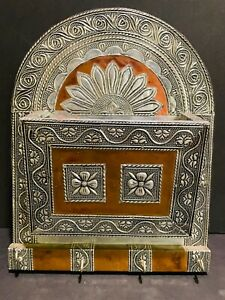 """Copper and Silver Metal Key Holder Wall Mounted Ornate Embossed 11.5"""" Handmade"""