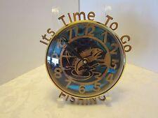 Wall Clock Laser Cut Wood Glass Dome fishing fish blue Mirror battery Powered