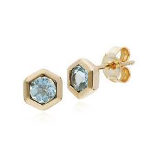 Gemondo 9ct Yellow Gold Aquamarine Hexagon Stud Earrings