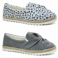 Ladies Womens Flat Canvas Plimsolls Espadrille Cushioned Casual Pumps Shoes Size