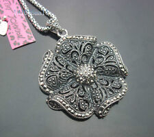 676S  Betsey Johnson  Antique silver Large Hollow Flower Pendant Necklaces