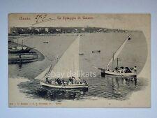 ANZIO spiaggia Levante barca vela animata Roma vecchia cartolina