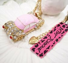 Betsey Johnson Necklace CAR RETRO CUBA Pink Enamel Crystal Sports Gold Adorable