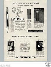 1934 PAPER AD Lektrolite Pencil Model Flameless Cigarette Cigar Lighter 14K Gold