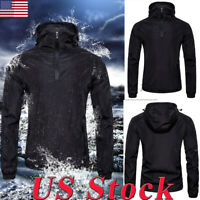 S-2XL Men Waterproof Hooded Windbreaker Rainwear Hoodies Coat Zipper Jacket Tops