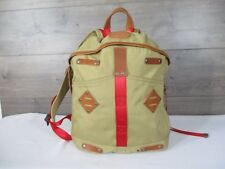 Rare Give Will Leather Goods Khaki Red Backpack Travel Bag Tote Back To School