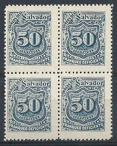 El Salvador 1897 Sc# J32 blue 50c Postage due block 4 MNH