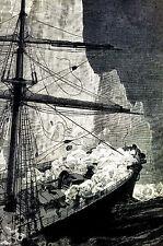 Newfoundland Steamship Columbia Hits Iceberg in Atlantic 1887 Art Print Matted