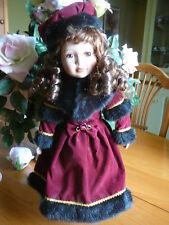 Alexandra Winter Christmas  Collectible Doll Bisque Porcelain With Stand 2000