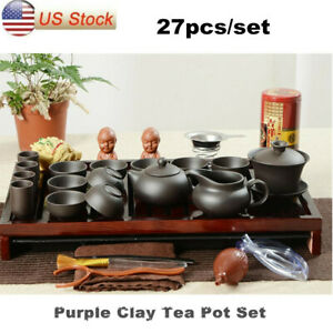 Chinese Kung Fu Tea Set - Purple Clay Tea Pot with Beautiful Wooden Tray Gift