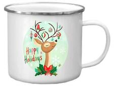 Punch Studio H8 Christmas Molly & Rex Enamel Stainless Rimmed Mug Deer Ornaments