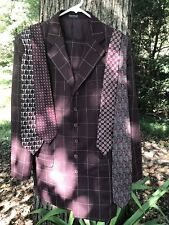 Vtg. 2 Pc Single Breasted Wine Plaid 1960's Italian Long 6 Button Zoot Suit