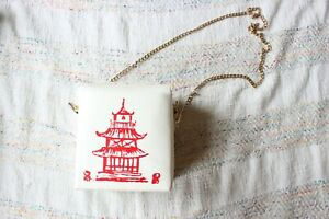 Chinese Takeout Box White Novelty Chain Crossbody Purse Bag