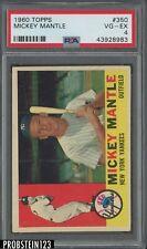 1960 Topps #350 Mickey Mantle New York Yankees HOF PSA 4 VG-EX
