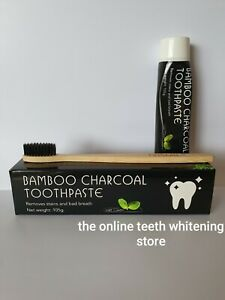 Bamboo Charcoal Toothpaste & Toothbrush - Mint Teeth Whitening Black Bad Stains