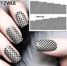 Black & White Chevrons Nail Art Sticker Decal Decoration Manicure