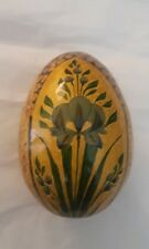 Beautiful Multi Color Floral Lacquer Painted Egg Display Piece Collectible