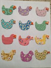 New listing Set of 12 Ducks Iron-on Cotton Fabric Appliques for Quilts Clothing See Picture