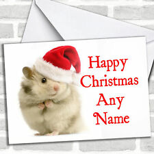 Hamster White Christmas Customised Card Personalized