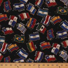 Latin Flags South America Black Peru Brazil Cotton Fabric Print by Yard D469.04